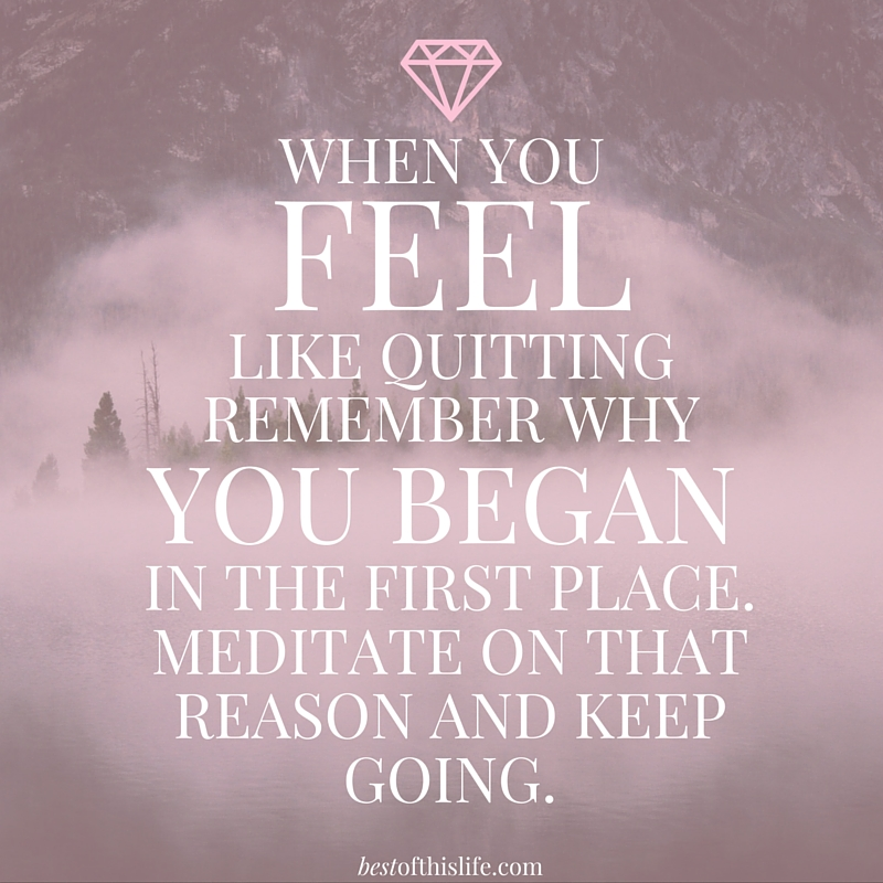 When You Feel Like Quitting Remember Why You Began