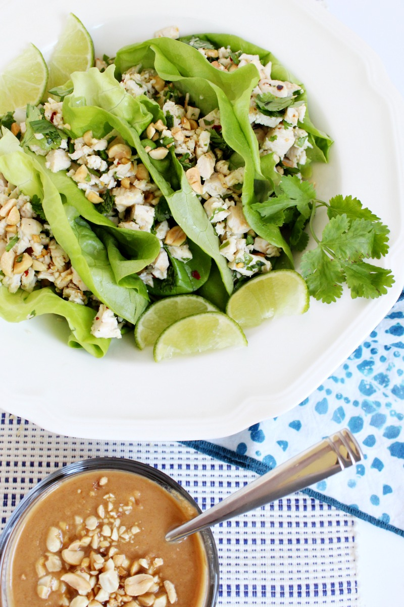 Platter of Thai Chicken Lettuce Wraps with Peanut Sauce