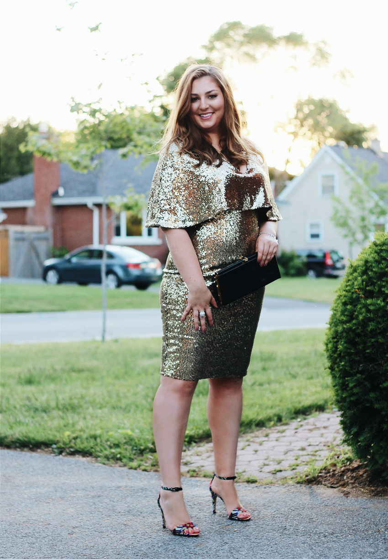 Gold Sequin Dress Styled Patent Leather Back Strap Heels bestofthislife.com