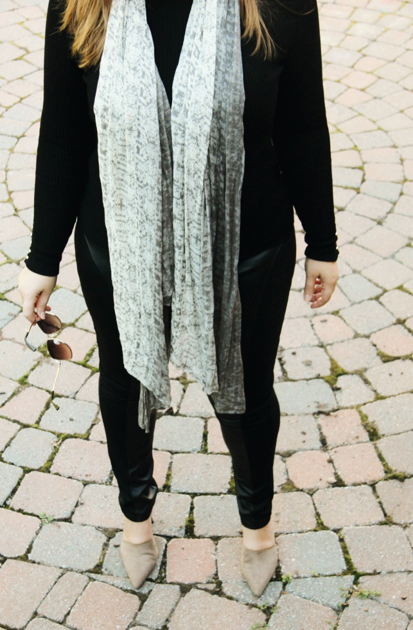 Fall outfit - long scarf, leather leggings