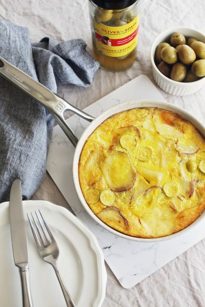 A Melt-In-Your Mouth Spanish Omelette Made with Olives from Spain, Red Potatoes, and Manchego Cheese