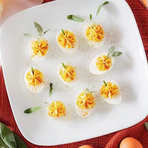 pumpkin shaped deviled eggs