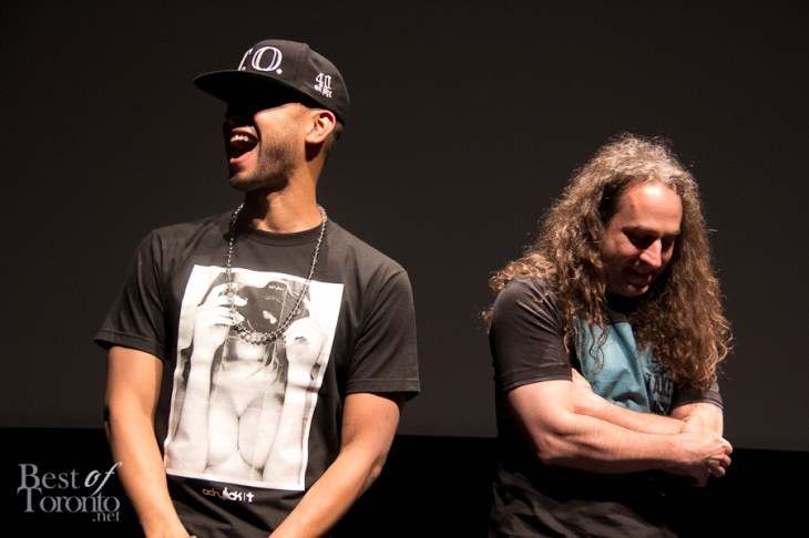Director X and Francois Lamoureux laughing on stage