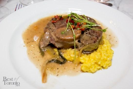 Osso buco (bone marrow) with black peppercorn cremolata and risotto Milanese