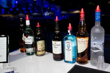 The selection of premium liquors available for guests