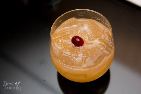 """""""The Boss"""" cocktail: Hennessy VS shaken with fresh lemon juice and cinnamon infused frozen cranberry"""