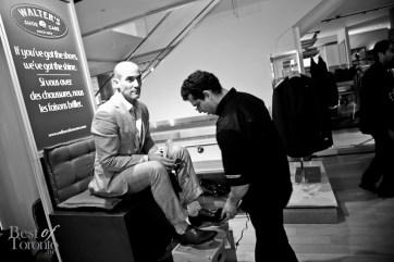 David Rocco getting a shoe shine