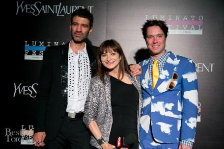 Jorn Weisbrodt (Luminato Festival Artistic Director), Jeanne Beker (Canadian fashion icon), Rufus Wainwright (singer, songwriter)