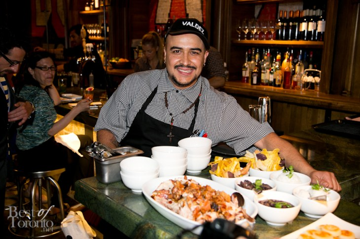 Chef Steve Gonzalez with his Adobo pork dish which feeds 8. It requires 48 hours advance notice to prepare this ultimate succulence.