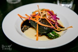 12 Hour Braised Short Rib with potato puree, grilled asparagus, heirloom carrot slaw, natural jus
