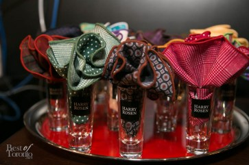 Pocket circles in Harry Rosen shot glasses