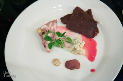 Charcuterie: rabbit terrine, Ontario cheese, Valrhona chocolate brioche crisp