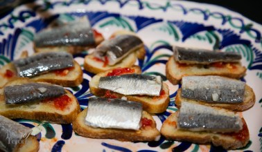 Sardine crostini with fermented peppers by Bar Isabel