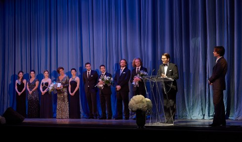 Ensemble Studio Competition finalists and winners with COC General Director Alexander Neef (at podium) and Centre Stage host Rufus Wainwright   Photo: Michael Cooper