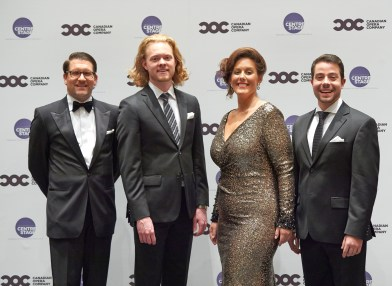 (l-r) COC General Director Alexander Neef, Third Prize Winner bass-baritone Iain MacNeil, First Prize and Audience Choice Award winner soprano Karine Boucher and Second Prize winner tenor Jean-Philippe Fortier-Lazure | Photo: Michael Cooper