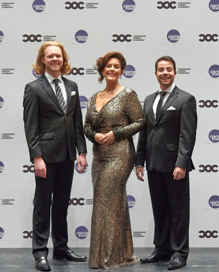 Third Prize Winner bass-baritone Iain MacNeil, First Prize and Audience Choice Award winner soprano Karine Boucher and Second Prize winner tenor Jean-Philippe Fortier-Lazure