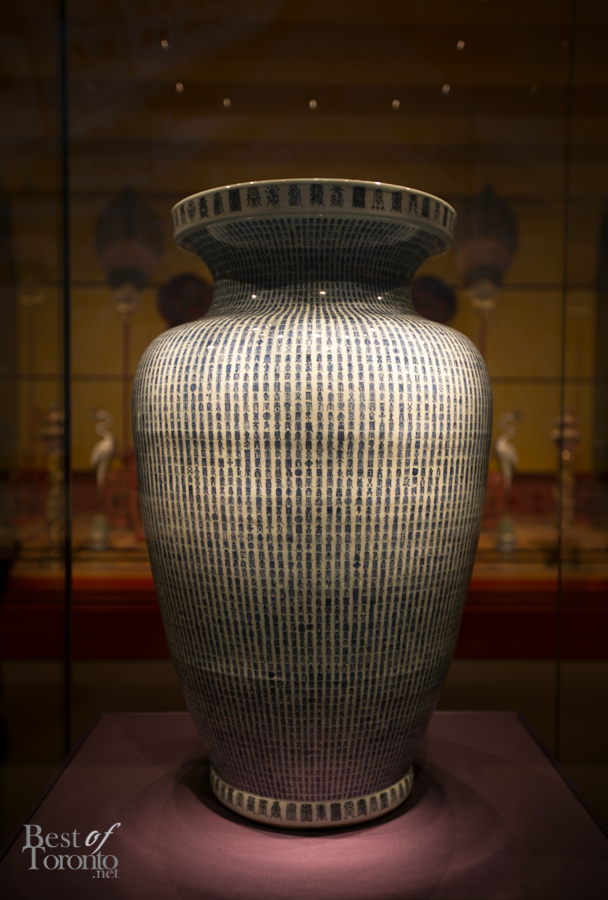 """Jar with Thousand Shou Characters"" made of porcelain with underglaze blue. It signifies a wish of 10,000 years of longevity which could only be given to the emperor. This vase was received by Emperor Kangxi on his 60th birthday."