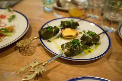 Grilled Cod Vine Leaves with fel fel, chermoula and toum
