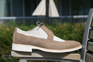 My shot of Stacy Adams oxfords in sand - with an elongated Euro look and brogue details