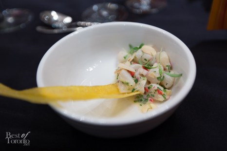 Scallop ceviche, coriander cress, toasted almonds paired with Veuve Clicquot Brut Vintage 2004 - my favourite pairing