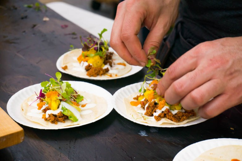 La Carnita plates their Mexican Chorizo Tacos
