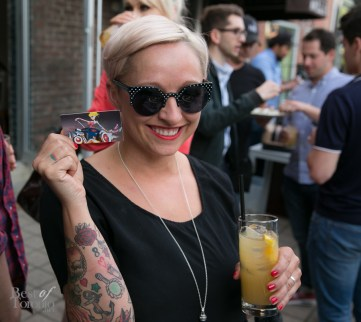 Casie Stewart showing her new business cards