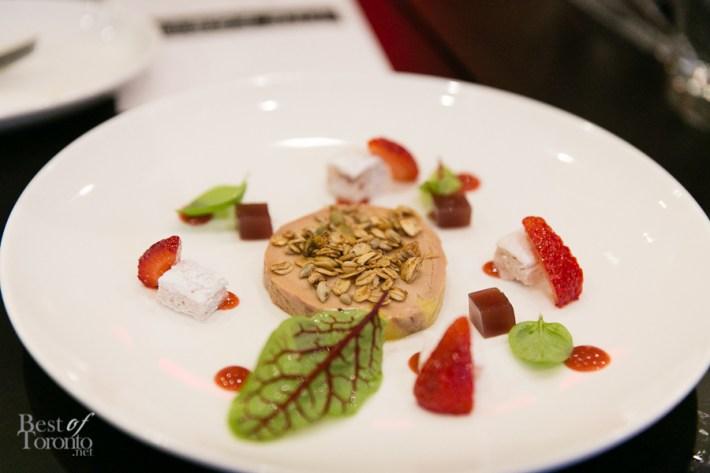 Fois Gras Torchon with granola, walnuts, strawberry, fennel and warm brioche