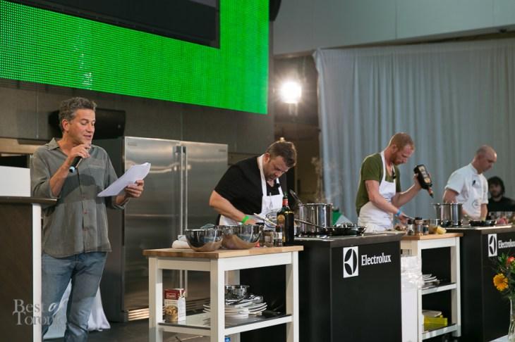 Bob Blumer emceeing the Toronto Taste Chef Challenge. Chef Eric Wood of Beverley Hotel won.