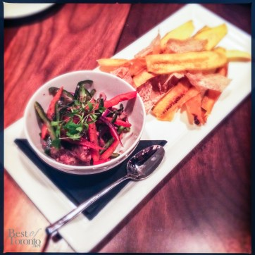 Octopus Ceviche with Taro and Plaintain Chips
