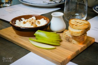 House made ricotta with honey, hazelnuts, and pear