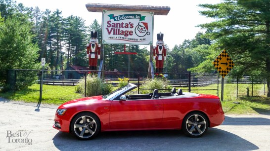 Parking the Audi S5 Cabriolet in front of Santa's Village in Bracebridge. Photo snapped with the Samsung Galaxy S5.