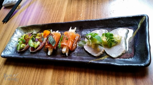 A delicious Sashimi platter including Tuna Tataki served with Tosazu Jelly