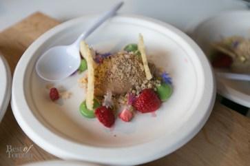 Bosk Restaurant - Foie gras parfait with strawberries, pistachio, melba toast | Photo: Nick Lee