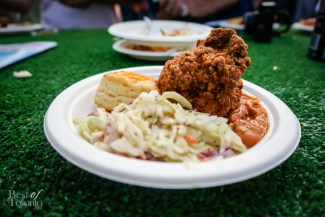 Fried chicken with buttermilk biscuit, housemade slaw, and chipotle BBQ sauce from The McEwan Group's One restaurant