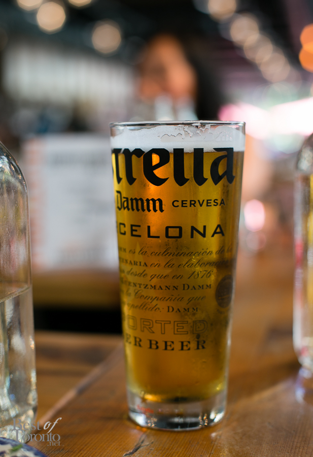 Some refreshing draught beer: Estrella Damm