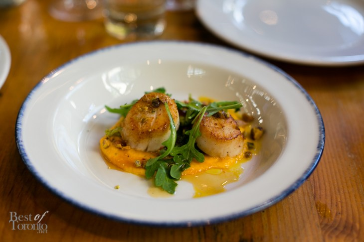 """DIVER SCALLOPS"" with fennel, orange, pine nuts, chili, agrodolce"