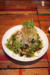 """Tingly Chilled Soba"" with shredded local vegetables and yuba cake, confit of shiitake, shisho leaf, nori crisps, Taiwanese vinaigrette"