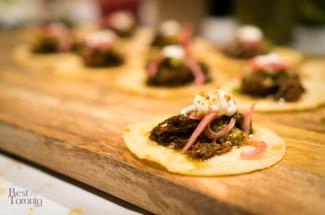Mole braised beef cheek tostada | Photo: John Tan