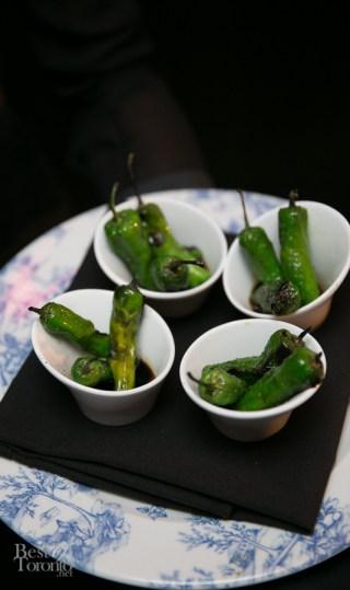 Binchotan Grilled Shishito Peppers with Amabito No Moshio Salt