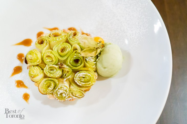 Frangipane Apple Tarte - Frangipane Tarte with Apple Rosettes, Caramel, and Pistachio Gelato | Photo: John Tan