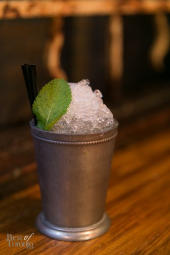 """""""Cuban Julep"""" with Mount Gay Eclipse, Makers Mark, Mint syrup, Lime Juice   Photo: Nick Lee"""