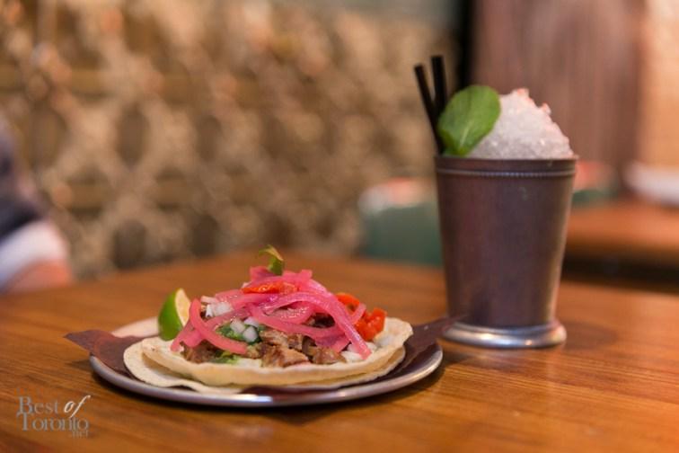 Carnitas de Maciza with pork shoulder confit, tomatillo salsa, pickled onion, charred habanero | Photo: Nick Lee