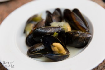 Mussels steamed in a savoury broth of pine needle-infused butter