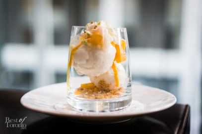 Tropical Fruit Sundae - coconut ice cream, roasted pineapple, passion fruit coulis