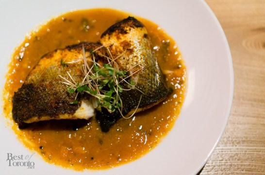 Roasted European sea bass
