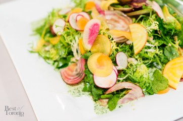 Frisee & baby kale salad with shaved radish, heirloom spring carrots & green goddess dressing