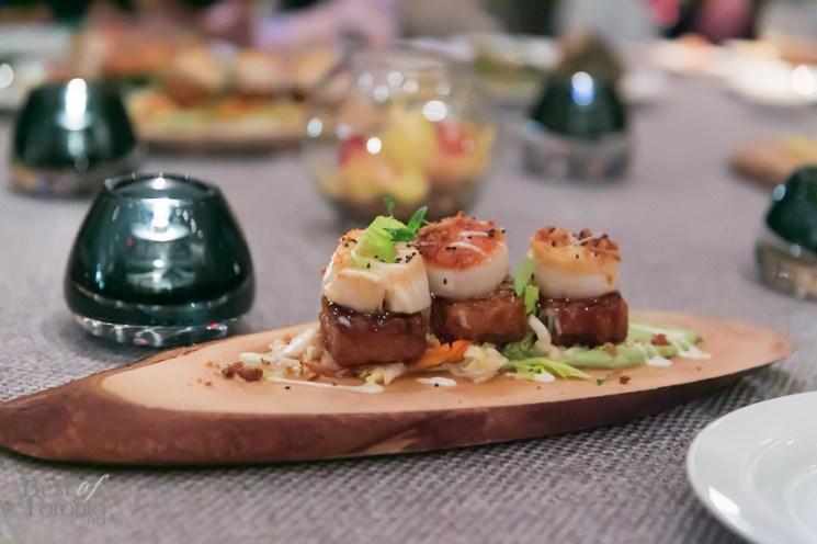 Crispy Pork Belly With Korean Bbq Sauce, Jumbo Scallop, Avocado Puree, Napa Cabbage Slaw, Coriander And Spiced Pork Crackling | Photo: Nick Lee