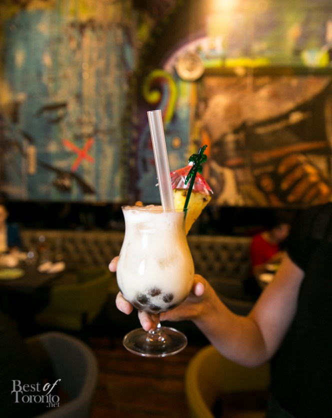Pina Colada Bubble Tea with Havana Club 3 year old, toasted coconut and chai syrup, lime, pineapple, coconut milk and tapioca pearls