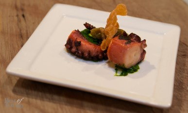 """""""Octopus"""" with chargrilled octopus, choy sum chimichurri, """"yu heung"""" eggplant"""