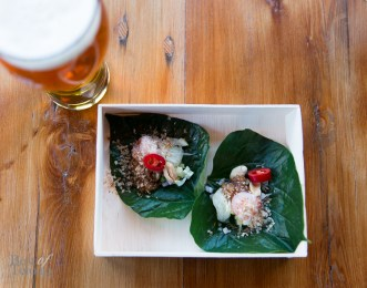 Betel leaf wrap with shrimp paired with Samuel Adams beer